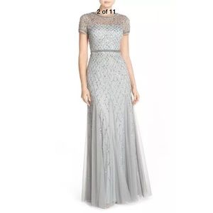 Adrianna Papell Dresses - New Adrianna Papell beaded mesh gown in blue mist